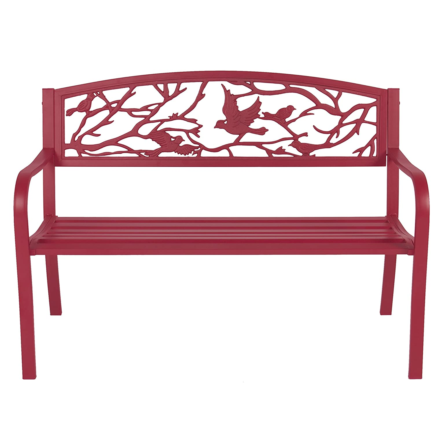 Amazon.com : Best Choice Products Steel Patio Garden Park Bench Outdoor  Living Patio Furniture, Rose Red : Garden U0026 Outdoor