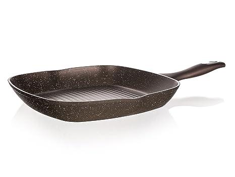 Banquet Premium Aluminio Fundido Forjado para Carne sartén, Aluminio, marrón Oscuro, Granito,