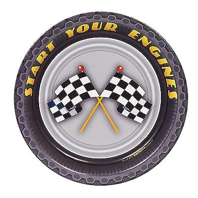 "BirthdayExpress Racecar Racing Party Supplies 7"" Paper Dessert Plate (8): Toys & Games"