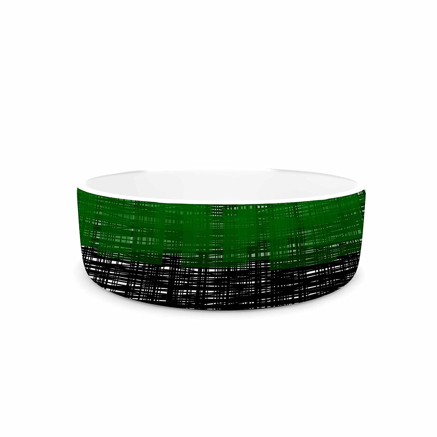KESS InHouse Trebam Platno (Green) Green Black Digital Pet Bowl, 7  Diameter
