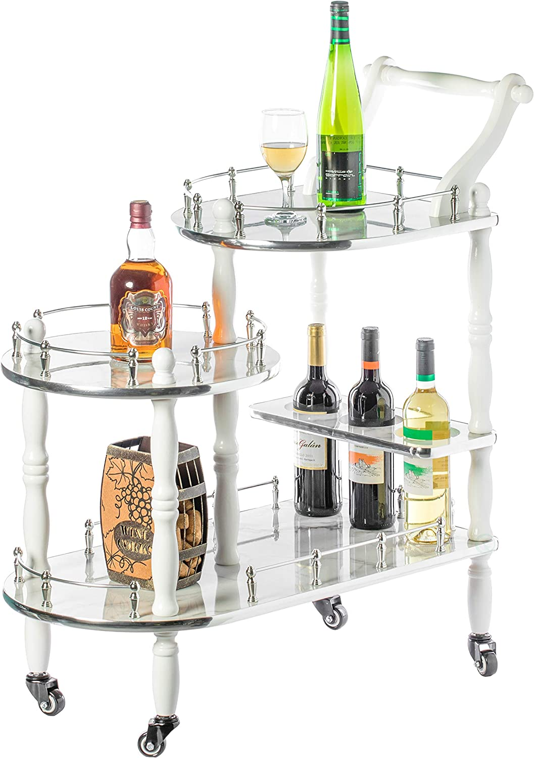 Bold Tones Wood Serving Bar Cart Tea Trolley with 3 Tier Shelves and Rolling Wheels, Silver, White and Gray, Grey