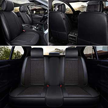 Black Leather Look Car Seat Covers Set For Volkswagen Passat Saloon 2011-2014