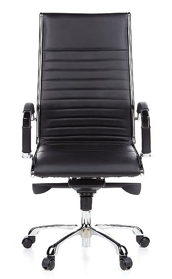 Bürostuhl designklassiker  hjh OFFICE 660500 Bürostuhl Chefsessel PARMA 20 Leder schwarz ...
