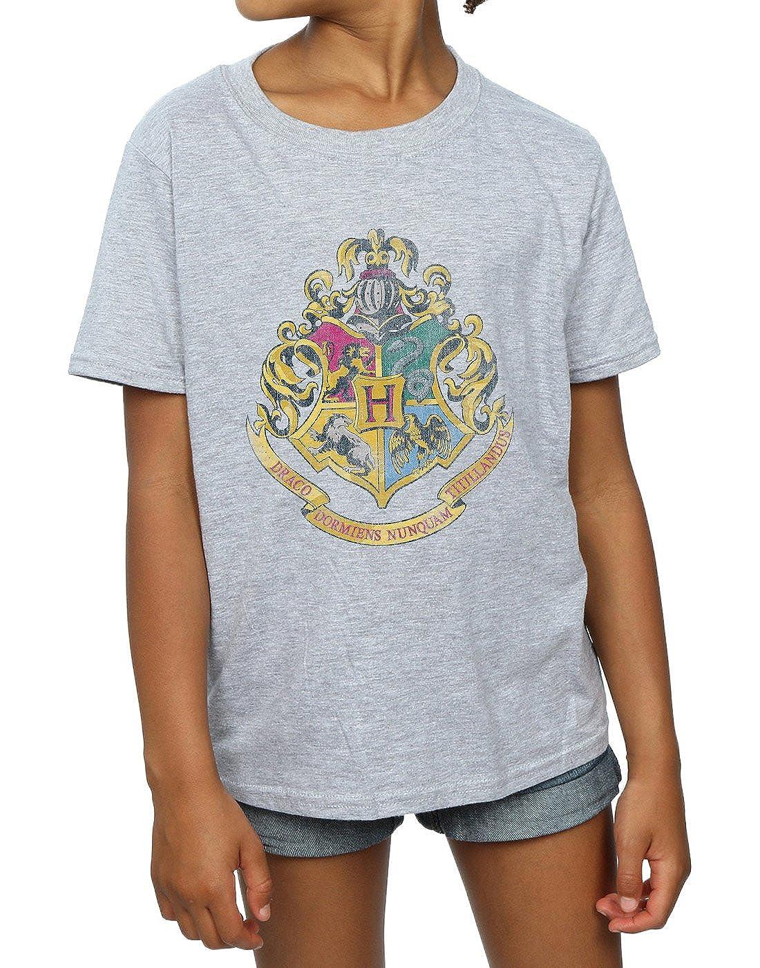 HARRY POTTER M/ädchen Hogwarts Distressed Crest T-Shirt