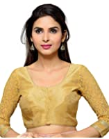 Studio Shringaar Poly Raw Silk Solid Gold Designer Blouse