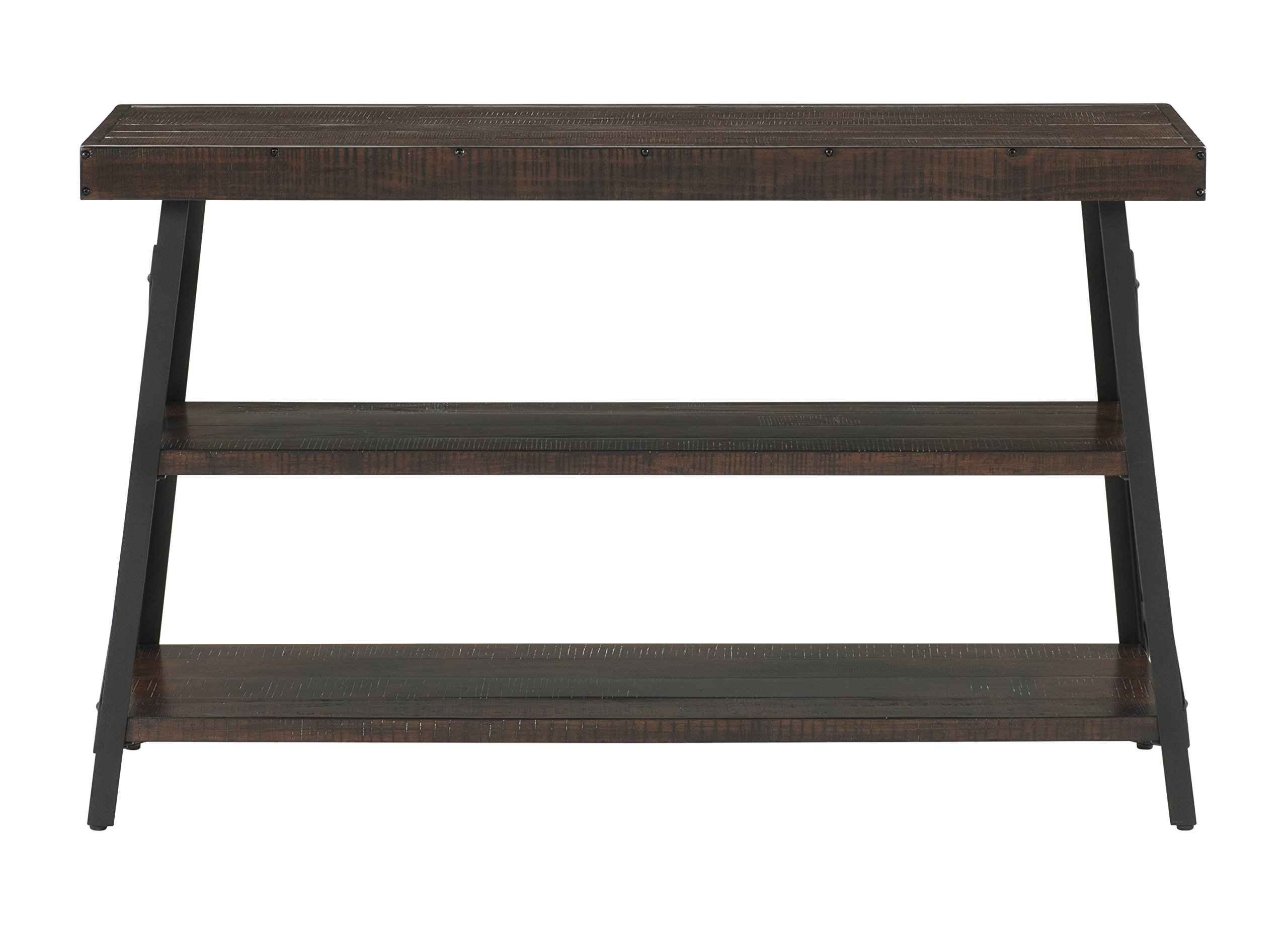 "Martin Svensson Home 890445 Xavier Sofa Console Table, Sumatra - Finish: Sumatra - blend of a deep rich Coffee Finish with a slight amount of white pumice hang up Crafted from solid wood - New Zealand pine with rough hewn saw marks Exposed rivets across the Top and Black Steel metal ""x"" cross on the end caps give it a distinct industrial and rustic look - living-room-furniture, living-room, console-tables - 81fMoFHbYBL -"
