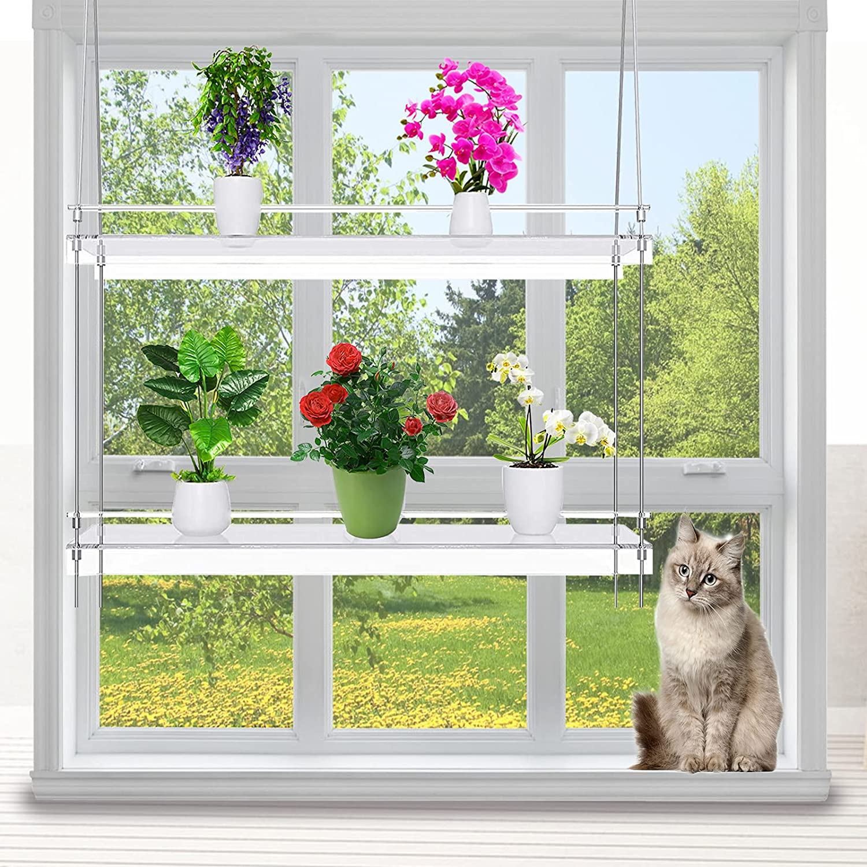Three Tier Window Plant Shelf with Instructions Indoor Hanging Shelf Plant Hangers Indoor Shelf Hanger Shelf for Plants Window Grow Herbs, Succulents, Flowers. (2 Layer)