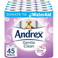Andrex Gentle Clean Toilet Tissue, Donate to WaterAid - 45 Rolls