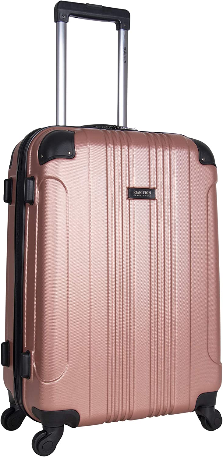 Kenneth Cole Reaction Out Of Bounds 24-inch Check-Size Lightweight Durable Hardshell 4-Wheel Spinner Upright Luggage, Rose Gold