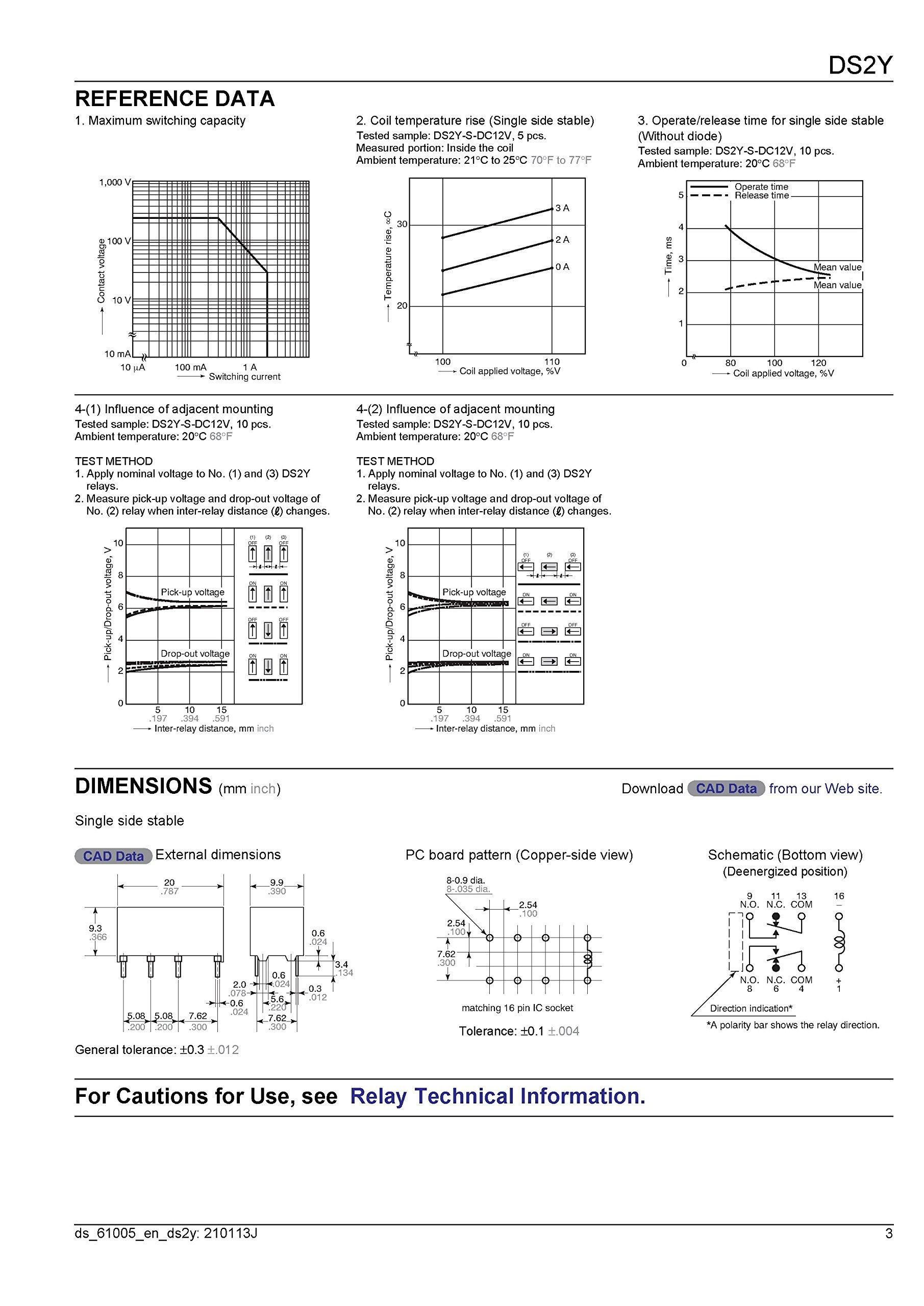 Electronics-Salon 100pcs DS2Y-S-DC12V Miniature Signal Relay, DPDT/2 Form C. by Electronics-Salon