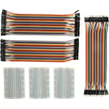 Breadboard Solderless With Jumper Cables– ALLUS BB-018 3Pc 400 Pin Prototype PCB Board and 3Pc Dupont Jumper Wires (Male-Female, Female-Female, Male-Male) for Raspberry Pi and Arduino