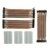 ALLEU Jumper Wire Mit Breadboard BJ-018 3pcs 400 Pin Breadboard und 40x20 Female-Female, Male-Male, Female-Male Kabel Steckbrücken für Arduino Raspberry Pi