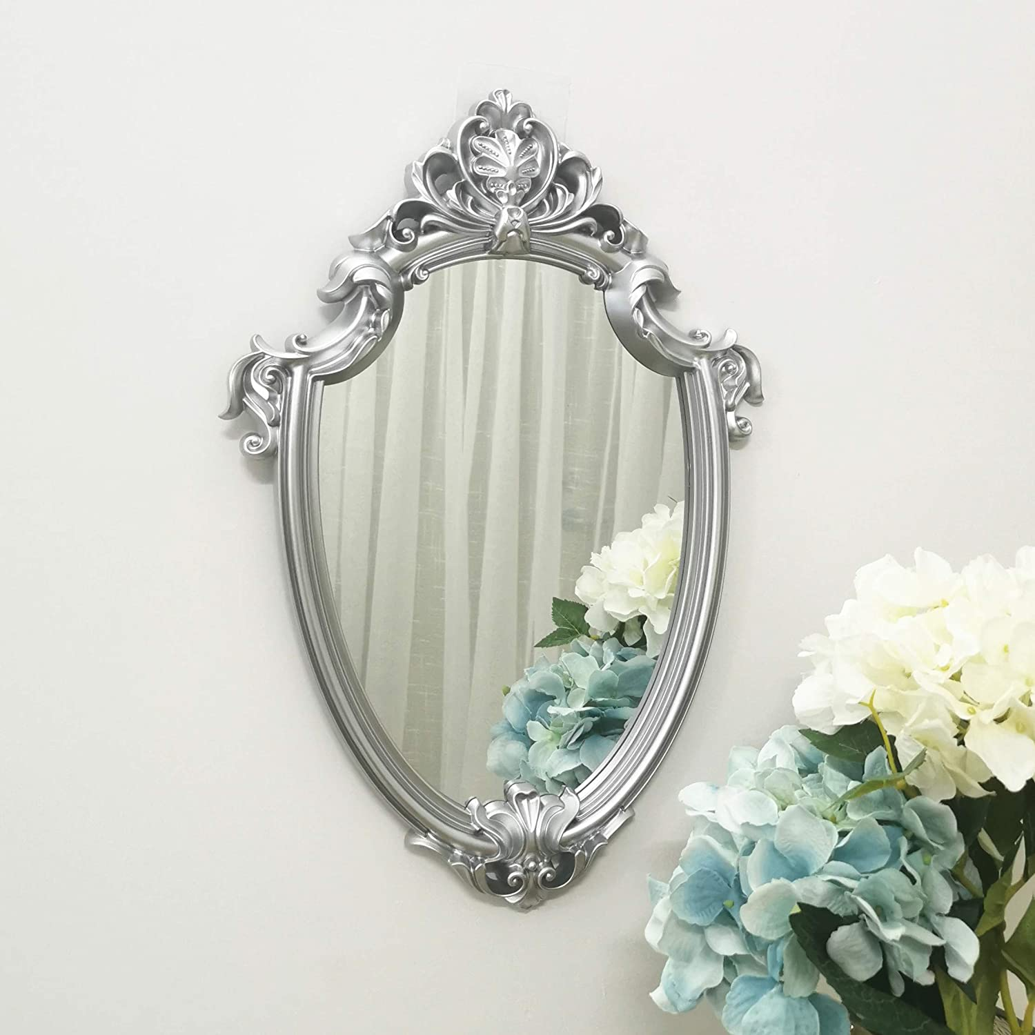 Yash Decorative Wall Mirror, Vintage Hanging Mirrors for Bedroom Living-Room Decor, Silver