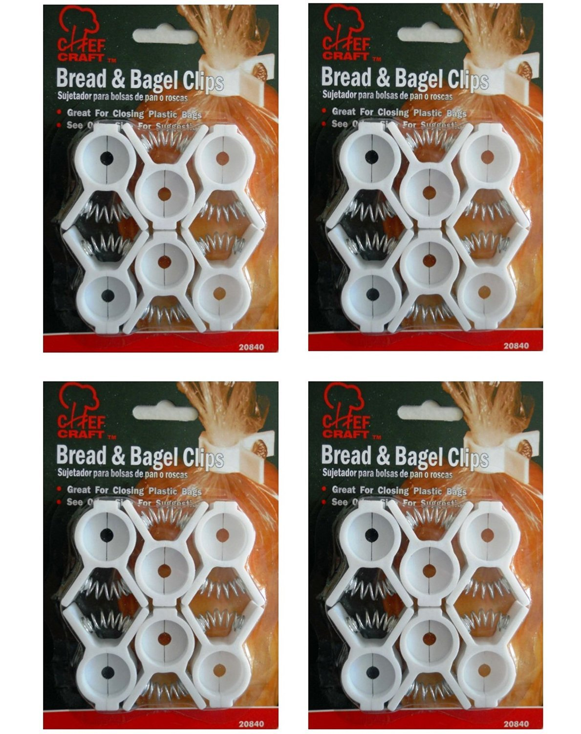 Set of 24 Bread and Bagel Bag Clips