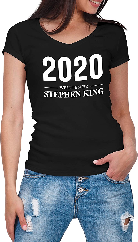 Written by Stephen King 2020 Camicia da Donna con Scollo a V