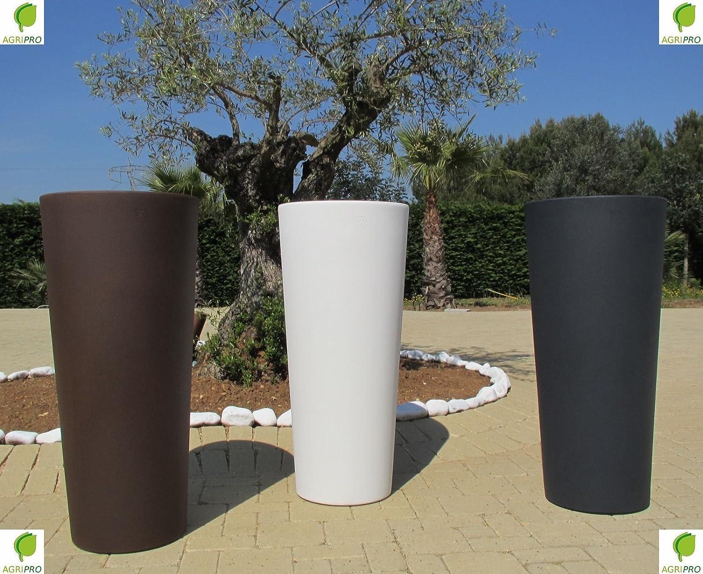 genesis pot de fleurs en resine avec cache pot rond et haut h x l 70 x 31 cm gris anthracite