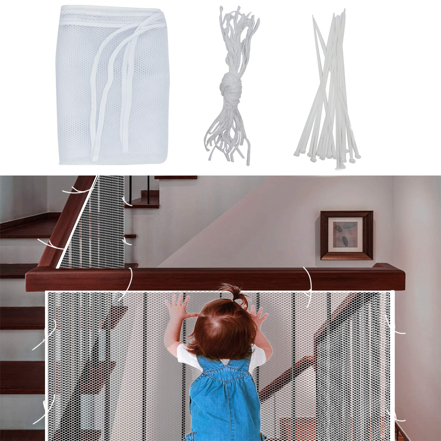 DECARETA Stairway Safety Net,Safety Banister Stair Mesh Net Protector with 15 Ny