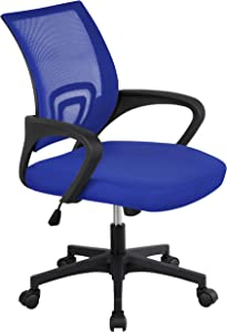 Topeakmart Office Chairs Desk Chair, Mid Back Computer Chair with Lumbar Support for Women, Men Blue