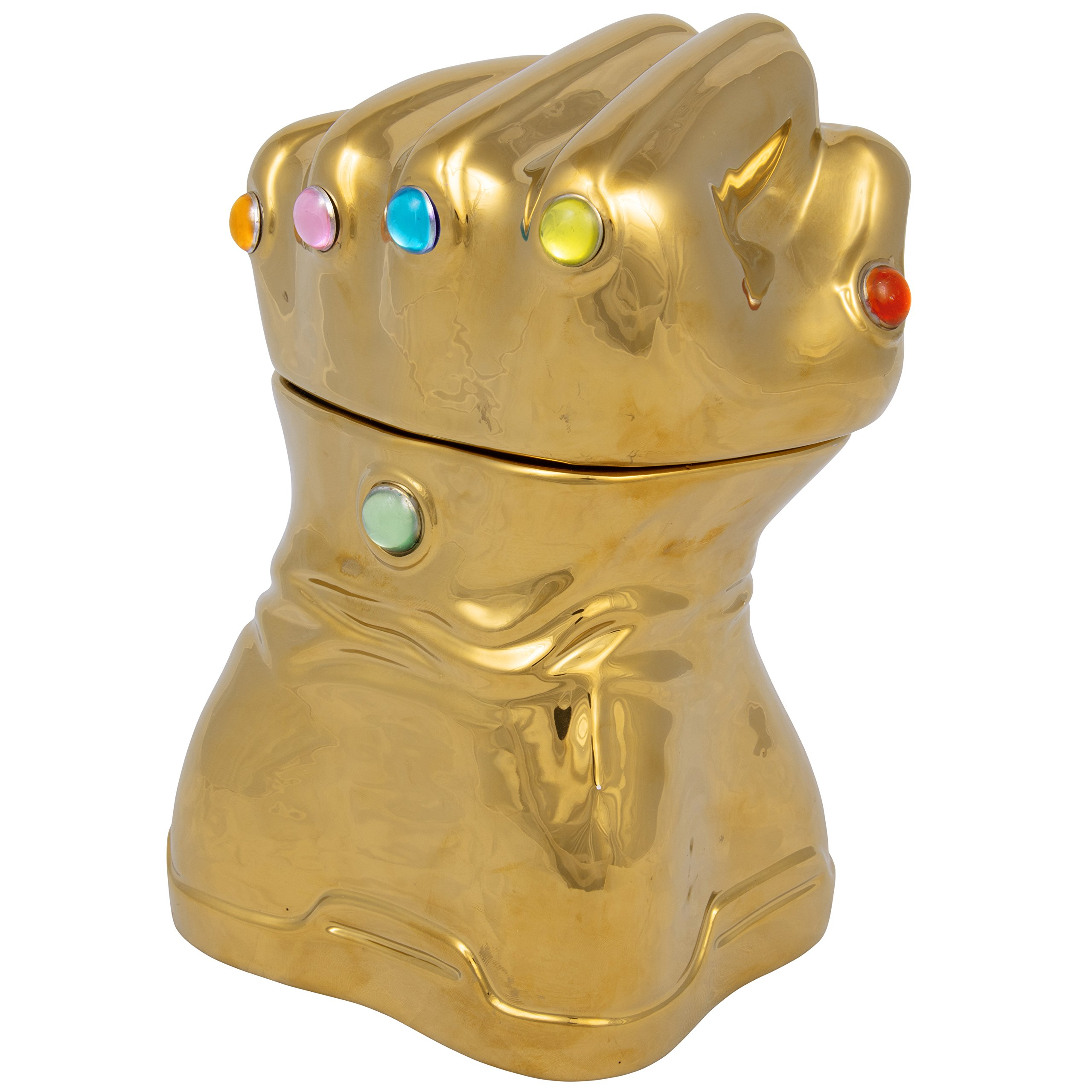 Thanos Infinity Gauntlet Cookie Jar - Gold with Infinity Stone Accents - Ceramic - 9 Inches Tall