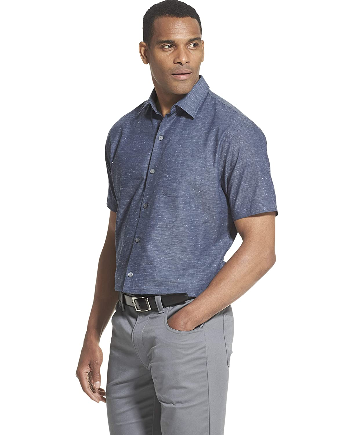 Van Heusen Mens Air Short Sleeve Button Down Solid Shirt