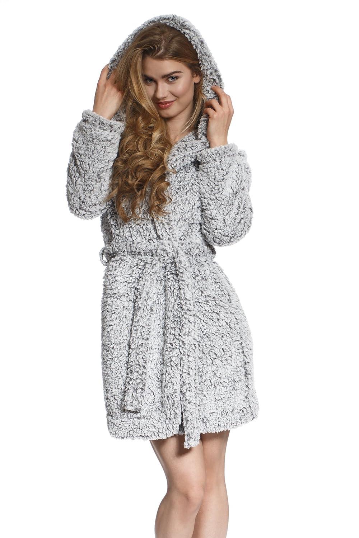 Cozy & Curious Women's Comfy Fluffy Robe Soft Warm Fleece Short Grey