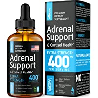 Adrenal Support Supplement - Thyroid Health & Cortisol Manager - Liquid Vegan Formula - Made in USA - Reduce Stress & Adrenal Fatigue with Ashwagandha & Holy Basil - 4 fl oz