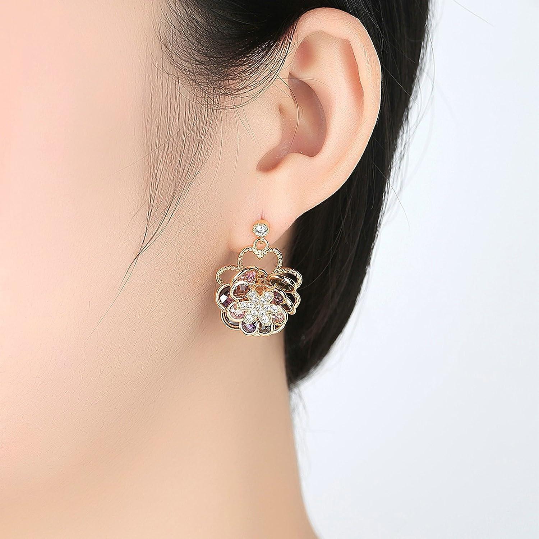 Adisaer Womens Earring Stud Gold Plated EarringsFlower Rose Earrings Stud Gold Earrings Pear//Round Cut CZ