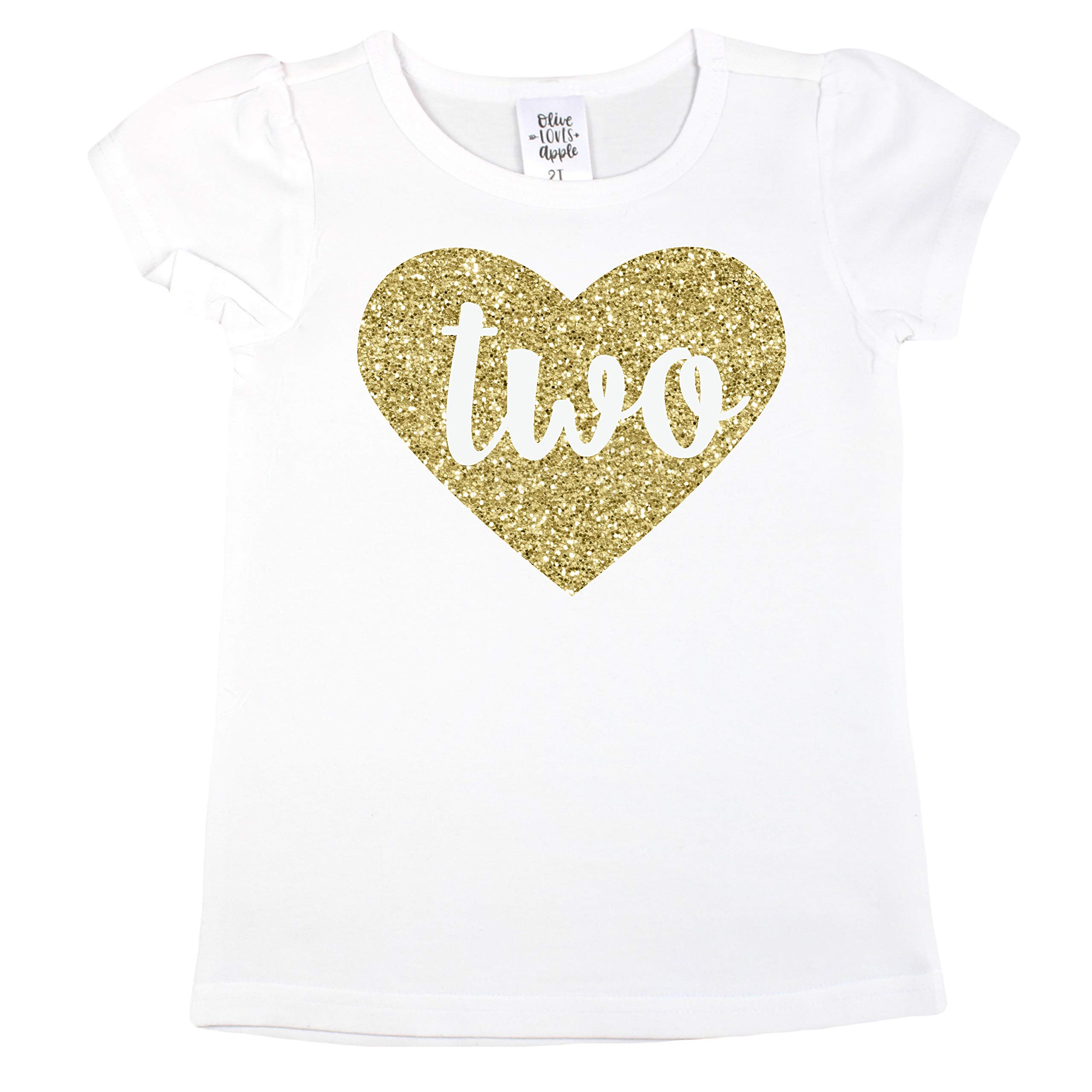 Girls 2nd Birthday Shirt Glitter Gold Two in Heart Second Birthday Shirt for Baby Girls,2T Short Sleeve,Gold