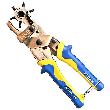 S&R Alicate Perforador Sacabocados Giratorio. Tamanos 6 agujers redondos: 2 / 2,5 / 3 / 3,5 / 4 / 4,5 mm: Amazon.es: Bricolaje y herramientas