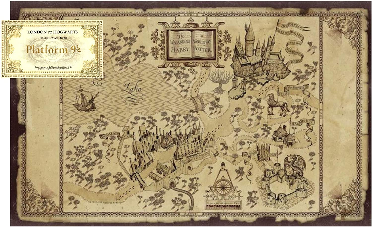 Amazon Com Hogwarts Wizarding World Of Harry Potter Map And