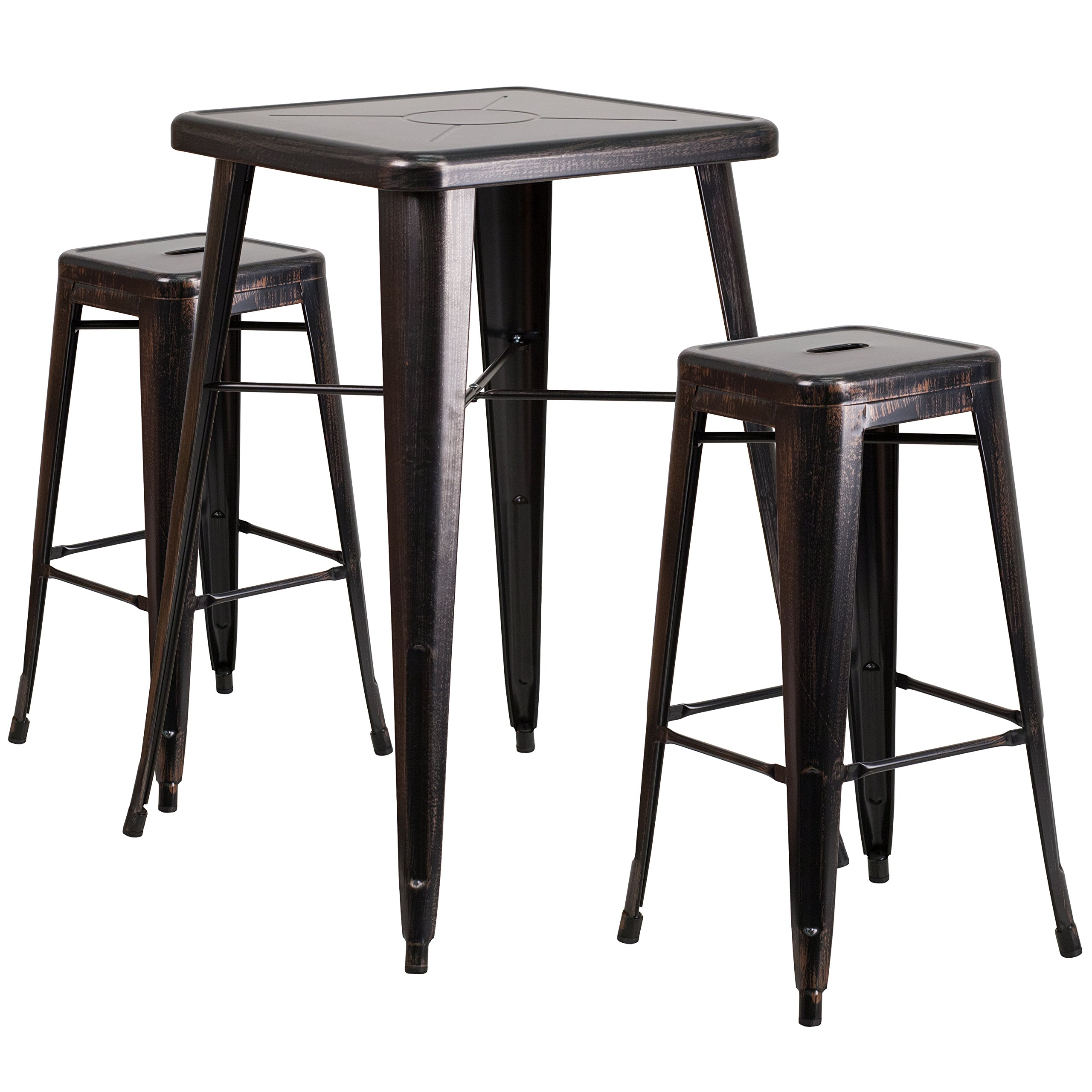 Flash Furniture 23.75'' Square Black-Antique Gold Metal Indoor-Outdoor Bar Table Set with 2 Square Seat Backless Stools