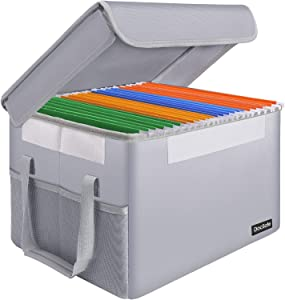 DocSafe Fireproof Document Box File Box File Storage Organizer Bin with Lid,Collapsible Document Storage Filing Box for Hanging Letter/Legal Folder,Home Office Safe Box Cabinet with Handle,Silver