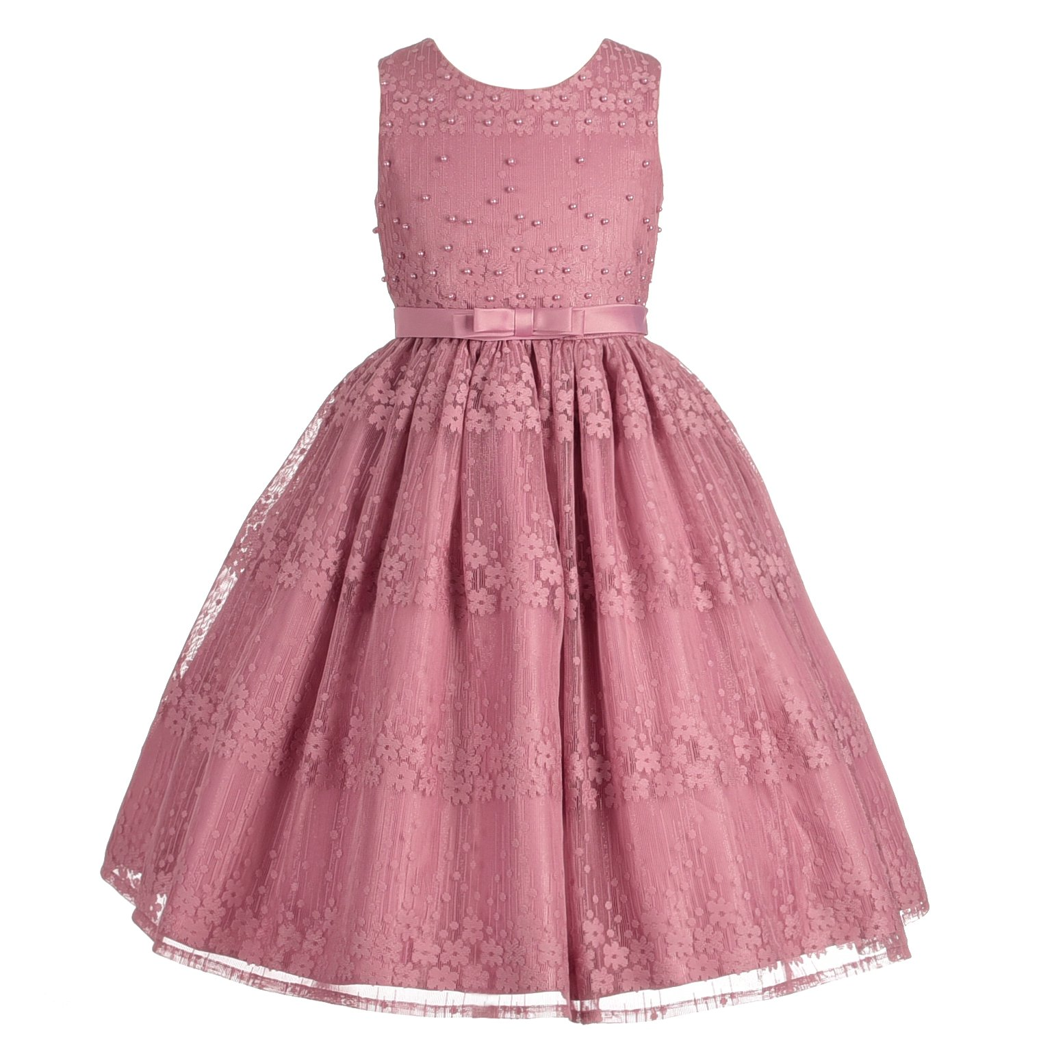 Dressy Daisy Girls' Floral Beaded Pageant Dresses Wedding Flower Girl Dress Lace Size 8 Pink