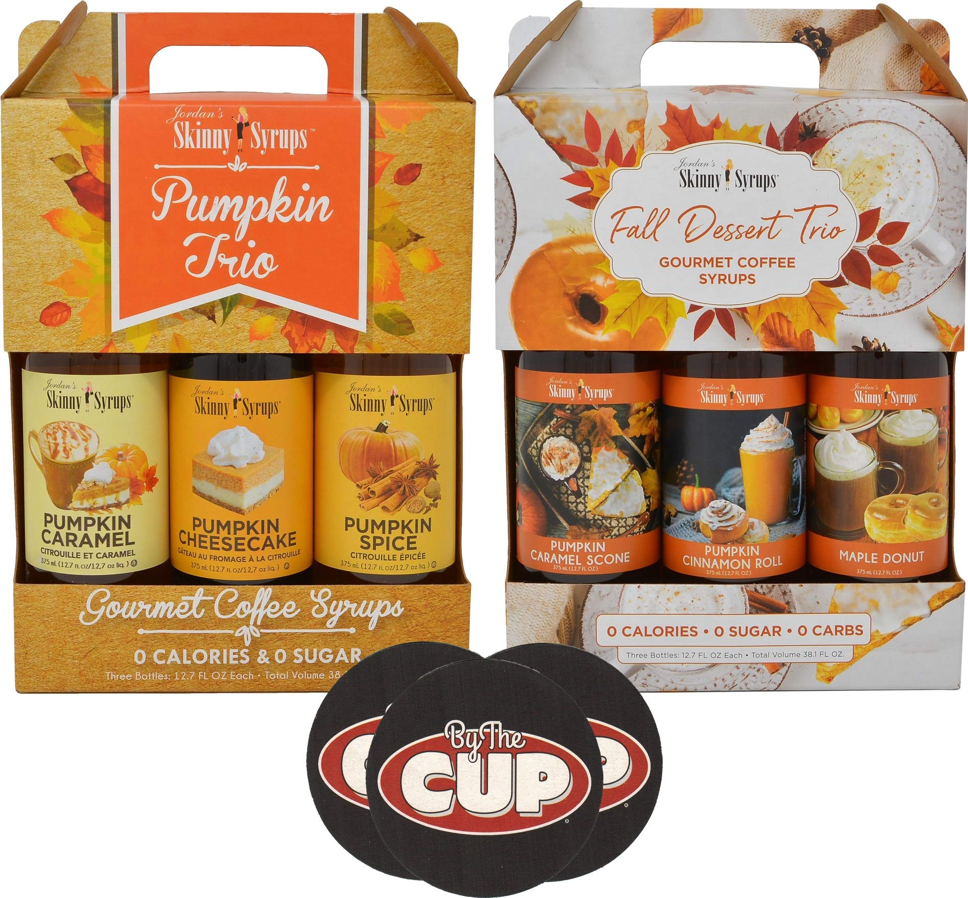 Jordan's Sugar Free Skinny Syrups Pumpkin and Fall Desserts Trio Gift Boxes 375 ml Bottles (6 Flavors Total) with By The Cup Coasters by By The Cup