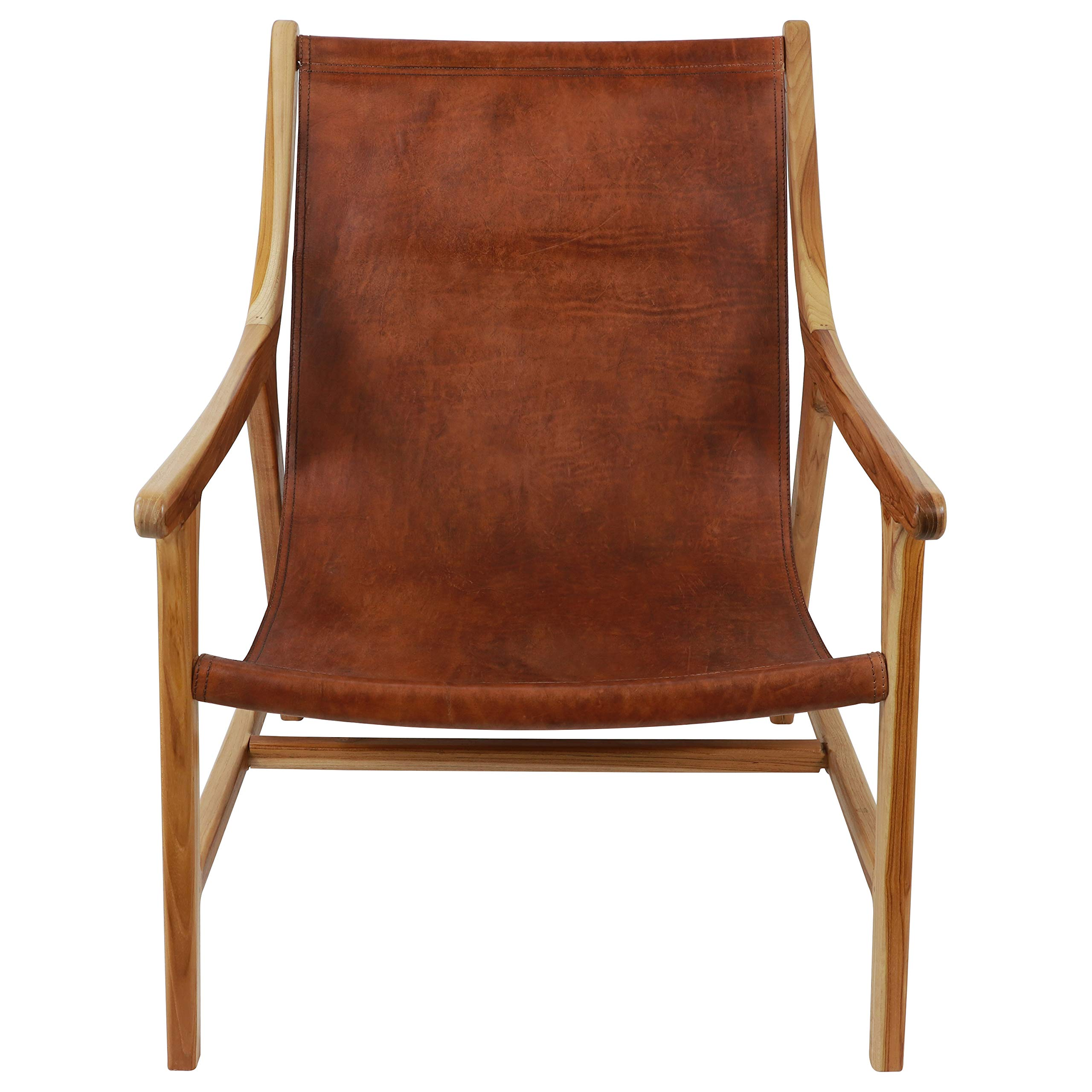 Decor Therapy Leather Sling Chair, 35.1 x 35.1 x 27.5 in'' in'', Brown by Decor Therapy