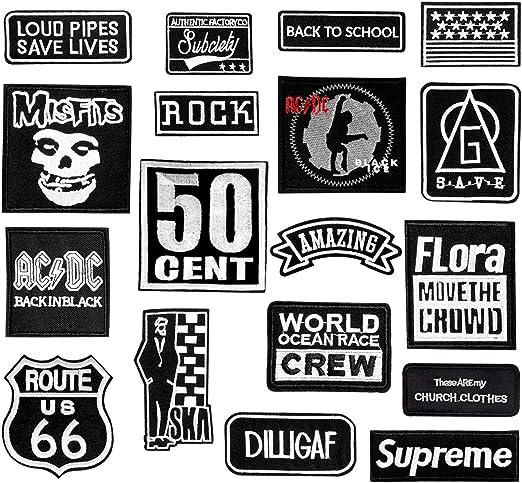 Joeyer 18 Piezas Parches Ropa Termoadhesivos Blanco y Negro de los Estilos de Parche Bordado Decoración DIY para Ropa Camiseta Jeans: Amazon.es: Hogar