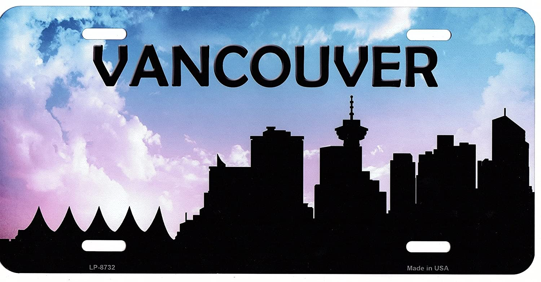 Vancouver Skyline Silhouette Metal License Plate