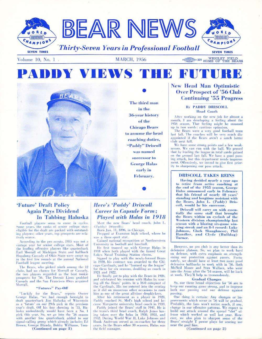 Amazon com: 3/1956 Chicago Bears Bear News Newsletter em