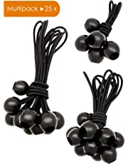 LUCIAMO ® Ball Bungees - the smart alternative to cable ties - Set of 25pcs - black - 3 sizes | Expander Loops | Tarpaulin Bungee Cords | Tent Bungees