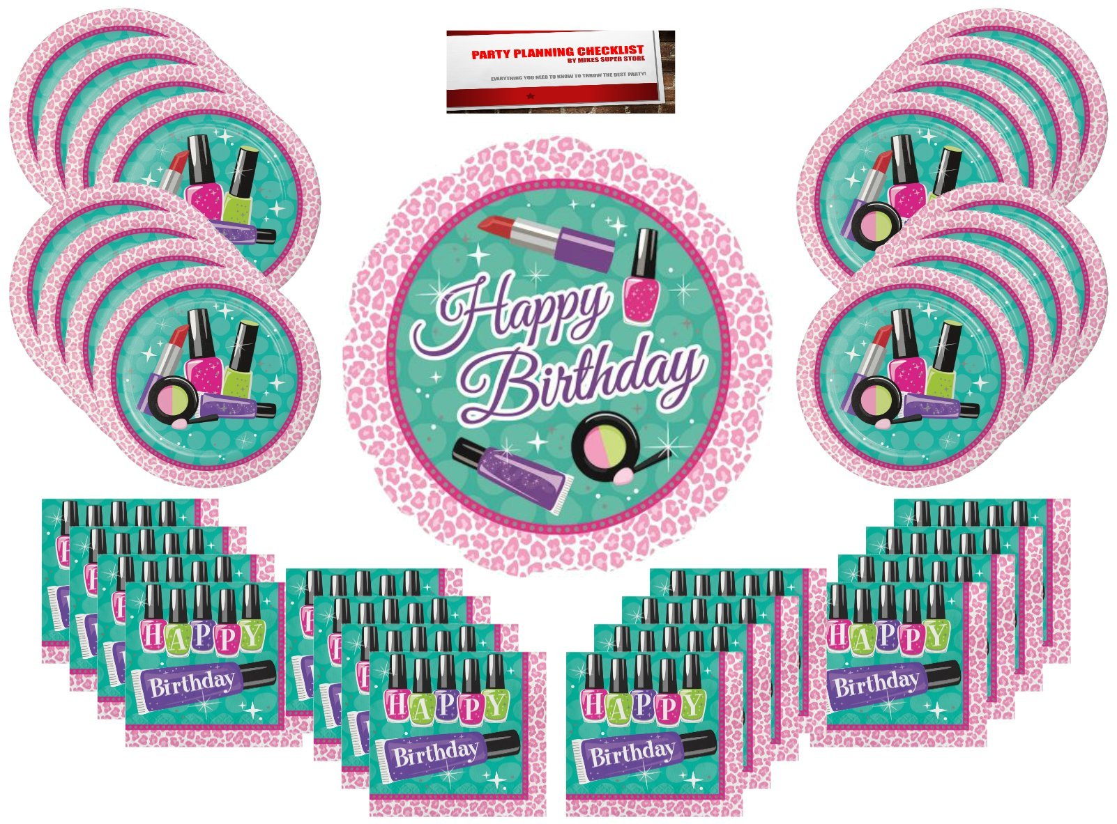 Sparkle Spa Party Supplies Bundle Pack for 16 guests (Bonus 17 Inch Balloon Plus Party Planning Checklist by Mikes Super Store)