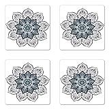 Ambesonne Lotus Coaster Set of 4, Mandala Style