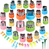 24 pcs Vegetable Cutter Shapes Sets Cookie Cutters Fruit Stamps Mold with 20 pcs Food Picks and Forks for Kids