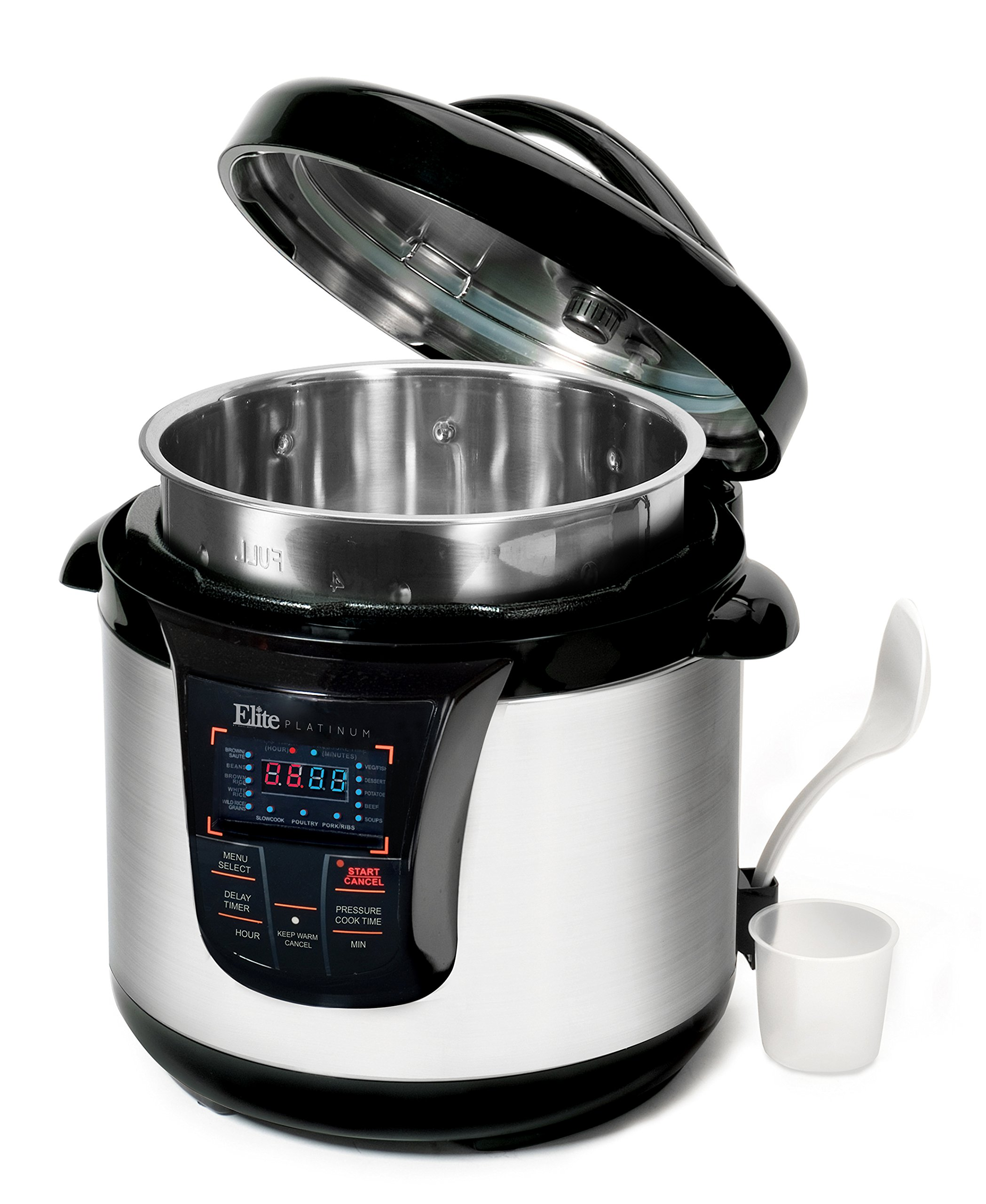 Elite Platinum 8 Quart 14-in-1 Multi-Use Programmable Pressure Cooker, Slow Cooker, Rice Cooker, Sauté, and Warmer with Tri-ply Stainless Steel Inner Pot