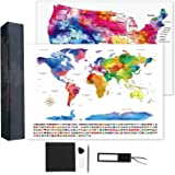 """TOBEHIGHER Scratch Off World Map + Extra Scratch Off USA Map Poster 23.5"""" x 16.5"""", Tracking Your Adventures. Including…"""