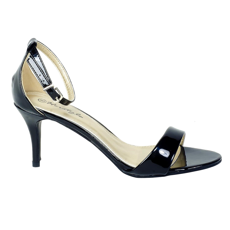 Amazon Com Herstyle Womens Manmade Sldelfina 3 5 Inch Heeled Sandal With Rous Vamp Black 10 Heeled Sandals