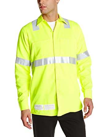 c3ee7434a3a9 Amazon.com  Bulwark Flame Resistant 7 oz Hi-Visibility Work Shirt  Clothing