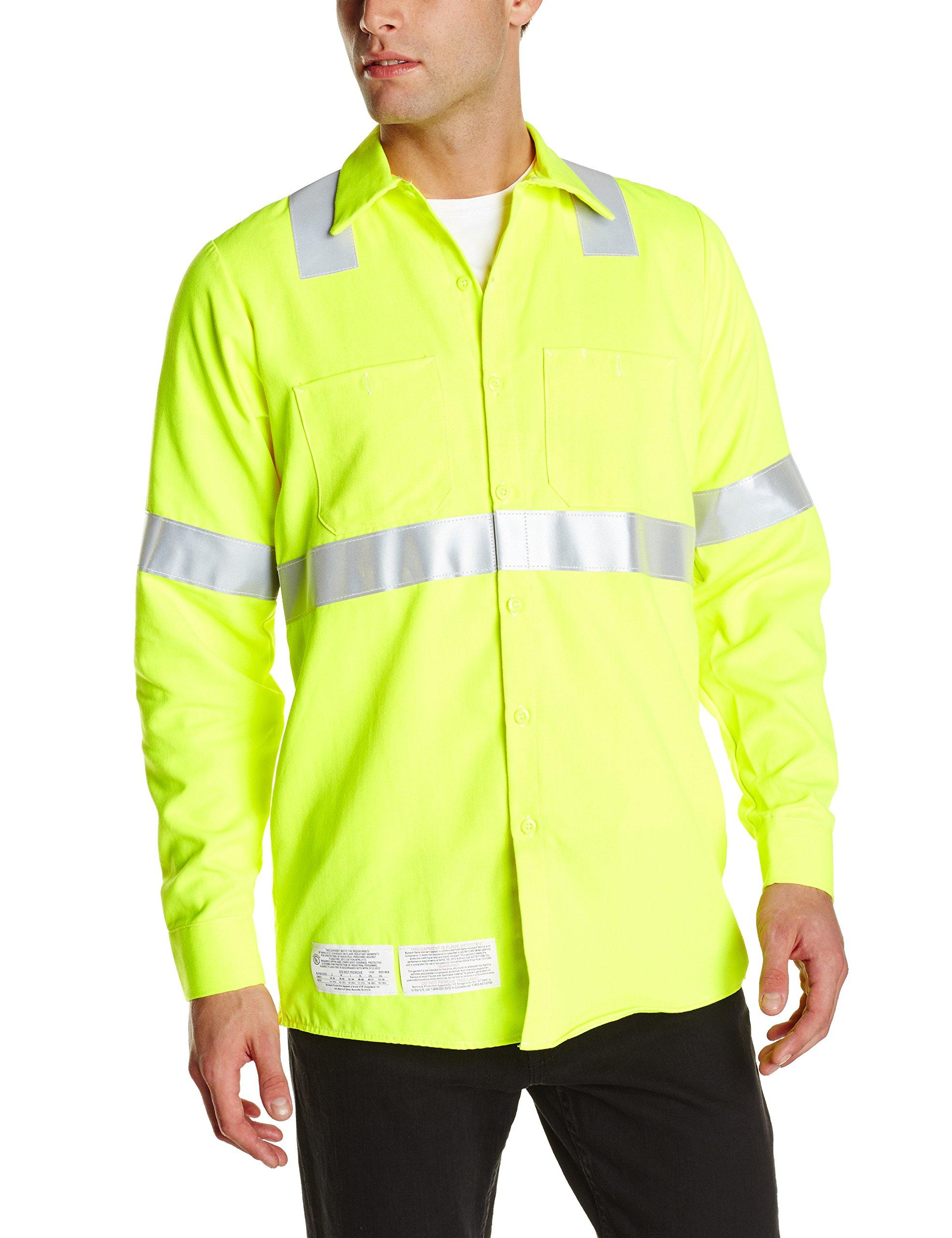 Bulwark Flame Resistant 7 oz Hi-Visibility Work Shirt, Yellow/Green, Large Long