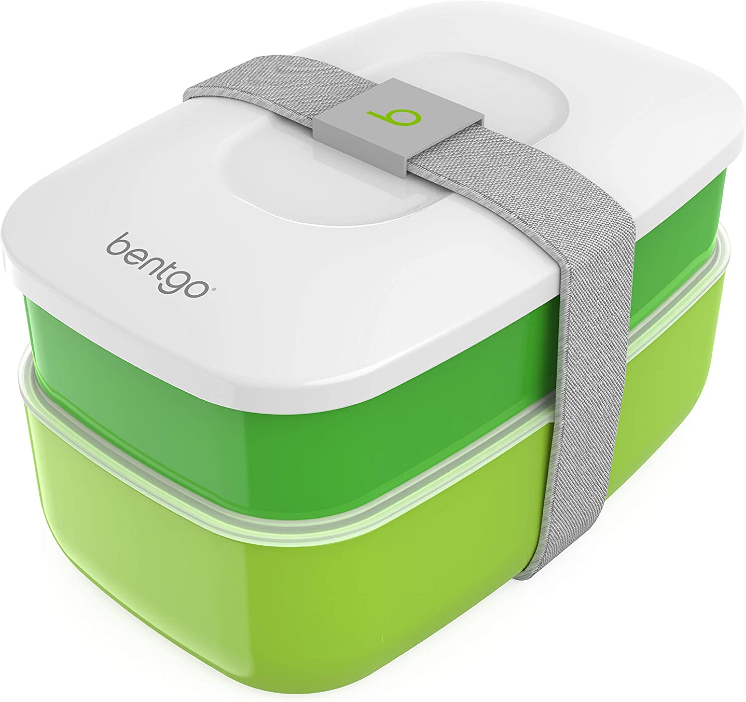 Bentgo Classic - All-in-One Stackable Bento Lunch Box Container - Sleek and Modern Bento-Style Design Includes 2 Stackable Containers, Built-in Plastic Utensil Set, and Nylon Sealing Strap (Green)