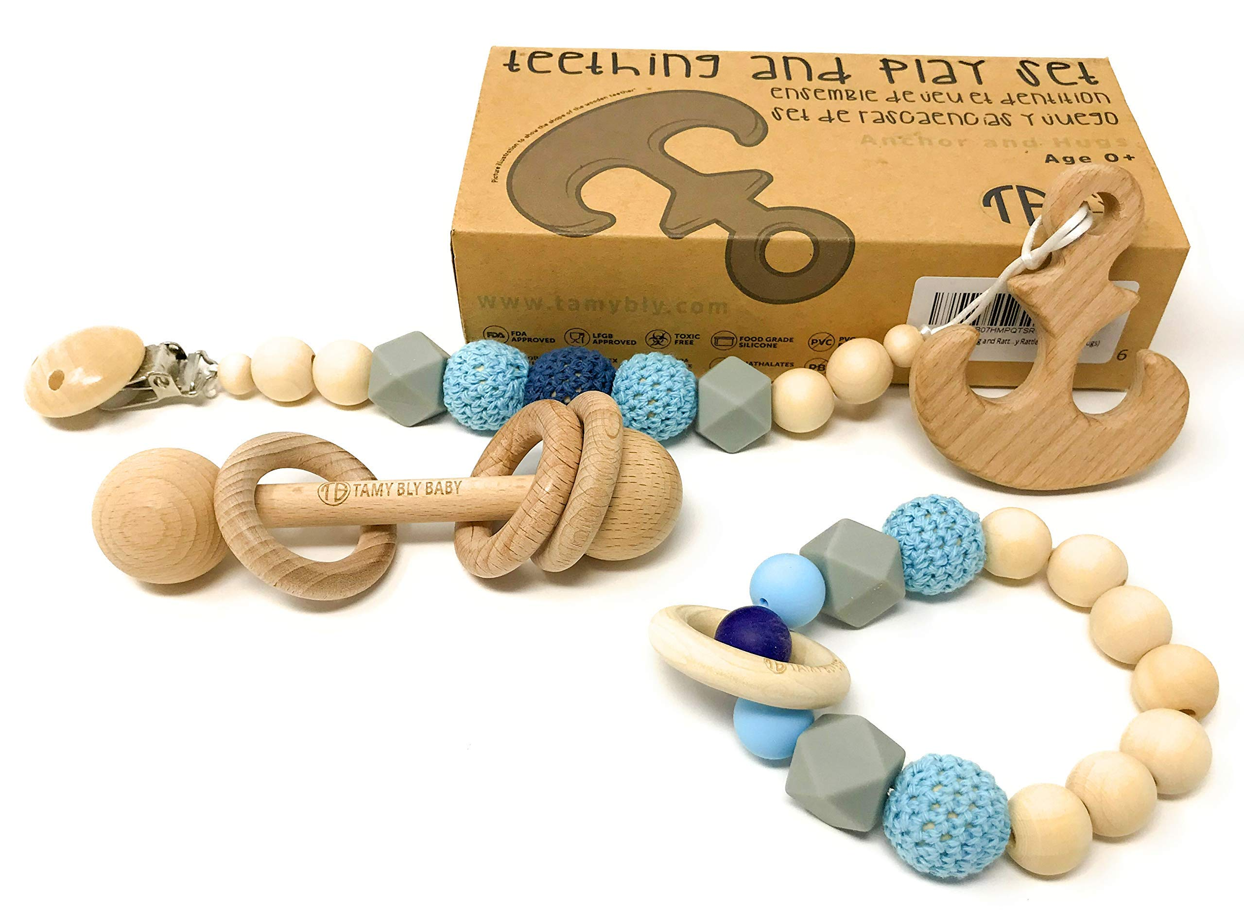 Tamy Bly Natural Wood & Silicone Pacifier Clip Teether, Teething Bracelet, Wooden Teethers, Wood Teething Rings,Updated Assembled Wood Teething Rattle|5pcs Baby Teether Toys Set|BPA Free|Anchor & Hugs