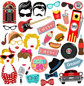 BizoeRade 50s Photo Booth Props, 41pcs 50's Sock Hop Photo Booth Props, 1950s Rock N Roll Party Favors,50s Theme Party Supplies for 50s Dinner Party
